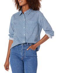 Goodthreads Washed Cotton Boyfriend Tunic Button-Down-Shirts - Azul