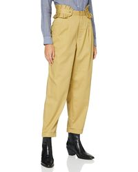 Scotch & Soda Clean Twill Chino With Detachable Pleated Belt Casual Trousers - Natural