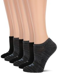 Skechers 6 Pack No Show Liners, White/grey, 9-11 - Gray