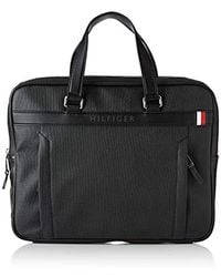Tommy Hilfiger Coated Canvas Slim Computer Bag, Bolsas para portátil Hombre, Negro (Black)