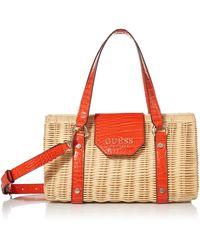 Guess Paloma -Handtasche aus Geflecht und Kunstleder - Orange