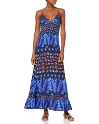 Desigual Dress Straps Greta Woman Blue Robe Femme - Bleu
