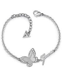 Guess Bracelet Devinez Papillon d'amour en acier inoxydable chirurgical plaqué rhodium logo UBB78049-S [AC1119] - Métallisé