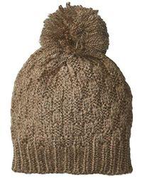 Nautica - Basket Weave Pull On Hat Pom - Lyst