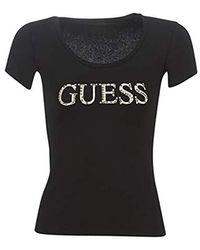 Guess SS CN Logo T-Shirt T- Femme - Noir