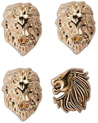 HIKARO Amazon Brand Men's Men's Set F Lion,tiger And Jaguar Lapel Pin - New - Metallic