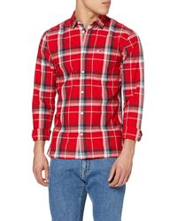 Tommy Hilfiger Tjm Essential Check Pocket Shirt Casual - Red