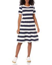 Amazon Essentials Short-sleeve Crewneck Tiered Dress - Blue