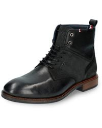 Tommy Hilfiger Elevated Tall Leather Mix Boot - Negro