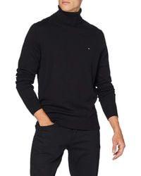 Tommy Hilfiger Luxury Wool Cotton Roll Neck Suéter - Negro