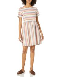 Goodthreads Washed Linen Blend Short-Sleeve Fit-And-Flare Dress Dresses - Multicolore