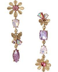 Betsey Johnson Flower Mismatch Linear Earrings - Purple