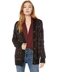 Lucky Brand Shine Fairisle Cardigan Sweater - Black