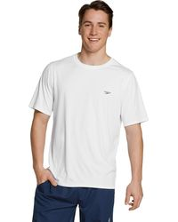 Speedo Short Sleeve Easy Rash Guard Swim Shirt With Uv And Upf 50+ Protection - White