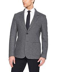 Lacoste 72cm Middle Back Length Wool Heather Yarn Jacket - Gray