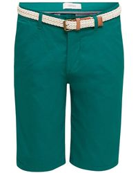 Esprit Baumwoll-Stretch-Shorts mit Gürtel - Grün