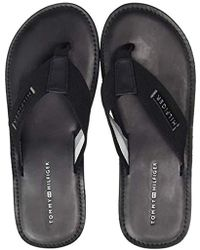 Tommy Hilfiger Elevated Leather Beach Sandal, Chanclas para Hombre - Negro