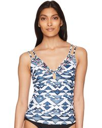 Lucky Brand Junior's Double Strap Tankini Swimsuit Top - Blue