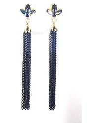 "Betsey Johnson - ""betsey Blues"" Faceted Stone Cluster Multi Chain Tassel Drop Earring - Lyst"