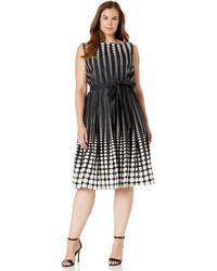 Anne Klein Size Plus Cotton Fit & Flare Dress - Black