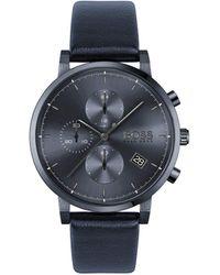 BOSS by Hugo Boss Reloj Cronógrafo para Hombre de Cuarzo con Correa en Cuero 1513778 - Azul