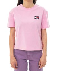 Tommy Hilfiger - Tommy Jeans Dw0dw06813 Badge Tee T-shirt Pink Xs - Lyst