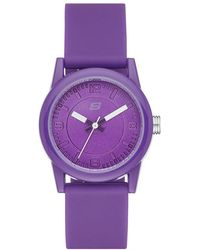 Skechers Rosencrans Mini Quartz Plastic And Silicone Casual Watch Color: Purple