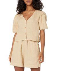 The Drop Priya Puff-sleeve Cropped Linen Shirt - Natural