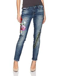 Guess - Pencil Skinny Mid Patched Jean, Blue Side Wash, 26 - Lyst