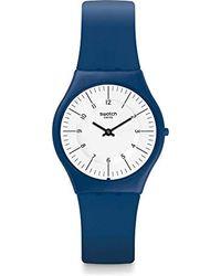 Swatch Analog Quarz Uhr mit Silikon Armband SFN124 - Blau