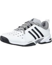 adidas Barricade Classic Wide 4e Tennis Shoe,white/black/mid Grey,6 Us - Multicolor