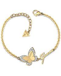 Guess Bracelet Devinez Papillon d'amour en acier inoxydable chirurgical plaqué or logo UBB78050-S [AC1120] - Multicolore