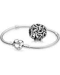 PANDORA 1 argento a forma di cuore inseriscile 590719 e 1 argento ciondolo apri il tuo cuore - Multicolore