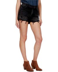 Lucky Brand High Rise Shortie Jean Short In Herome Fray - Blue