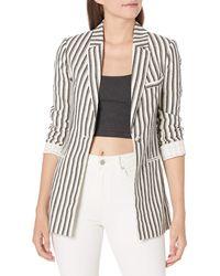 BCBGMAXAZRIA Striped Long Sleeve Blazer - Black