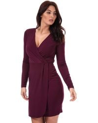 French Connection Womens Womens Long Sleeve Slinky Wrap Dress In Berry - 12 Red