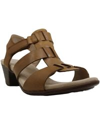 Clarks S Valarie Kerry Leather Open Toe Casual Ankle Strap - Marrone