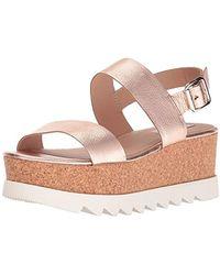 Steve Madden S Krista Leather Open Toe Casual Platform Sandals - Pink
