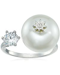 Betsey Johnson - S Blue By Betsey Open Ring With Cubic Zirconia Stone And Pearl And Star Detail - Lyst