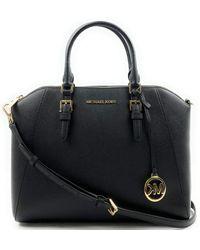 Michael Kors Large Ciara Top Zip S Saffiano Leather Satchel - Black