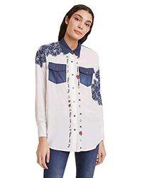 Desigual Shirt Frida Camisa para Mujer - Azul
