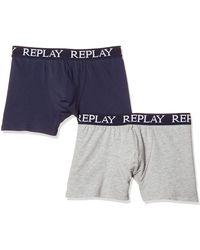 Replay Basic Cuff Logo 2pz Boxer Shorts - Blue