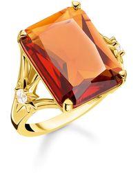 Thomas Sabo Ring Stein Orange groß mit Stern 925 Sterlingsilber gelbgold vergoldet TR2261-971-8-50