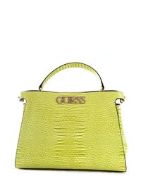 Guess Borsa a mano/tracolla Uptown Chic Lrg Turnlock satchel 2 comp. ecopelle cocco lime BS20GU173 - Gelb