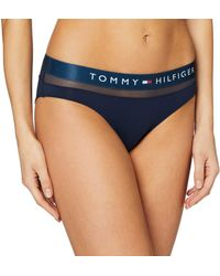 Tommy Hilfiger Bikini con Inserción de Malla Braguitas con Cintura Elástica - Azul