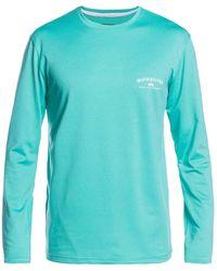 Quiksilver Gut Check Long Sleeve Rashguard Upf 50+ Rash Guard Shirt - Green