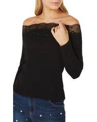 Dorothy Perkins Lace Trim Bardot Long Sleeve Top - Black