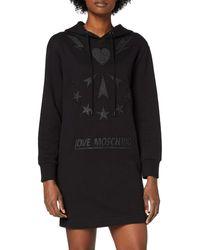 Love Moschino Long Sleeve Fleece Hooded Dress_Sparkling Logo Vestito Casual - Nero