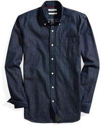 Goodthreads Slim-Fit Long-Sleeve Denim Shirt Button-Down-Shirts - Blu