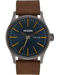 Nixon Watch A1052984 Sentry Leder Gunmetal/Indigo/Braun